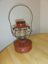 Vintage Antique Red HANDLAN St. Luis CONTRACTOR Lantern, Clear Globe