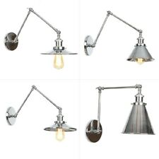 20th C. Factory Library Swing Arm Sconce E27 Light Wall Lamp Chrome F Lighting