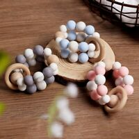 Baby Chew Round Silicone Beech Beads Stroller Rattles Teething Bracelet Pram Toy