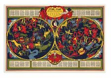 """STAR MAP of the Constellations - Chart to Celestial Zodiac circa 1930 - 24""""x36"""""""