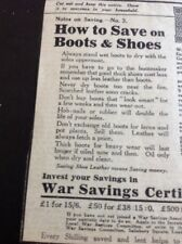 69-3 Ephemera 1918 Advert War Savings Advice How To Save On Boots And Shoes