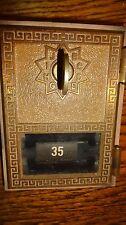 BRASS POST OFFICE BOX DOOR FRAME KEY P.O. VINTAGE ANTIQUE LOCK RARE KEY GRECIAN