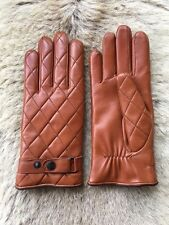 Winter Leather Gloves Men's Cashmere Lining Brown Cognac