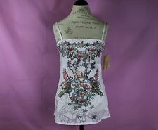 Butterfly Dropout Tank Blouse Size M Medieval Pattern White Top Hippie Casual