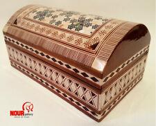 "New Handmade Egyptian Beech Wood Treasure Jewelry box Inlaid Mother of Pearl 8"""