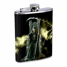 Death King D1 8oz Hip Flask Stainless Steel Reaper Skull