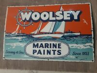 """Porcelain WOOLSEY MARINE PAINTS Sign SIZE 22"""" X 34"""" INCHES Pre-Owned"""