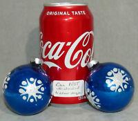 "Christmas Ornament Glass Ball SNOWFLAKE Glitter Electric Royal Blue 2"" Lot of 2"
