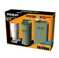 Stanley Adventure Stainless Steel Shots 8oz Flask Gift Set Hammertone Green
