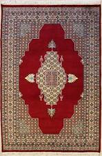 Rugstc 4.5x7 Pak Persian Red Area Rug, Hand-Knotted,Medallion with Silk/Wool