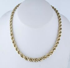 """14K Yellow Gold Graduated (5mm to 8mm) Choker Twisted Rope Chain 15 1/2"""" 20.4g"""