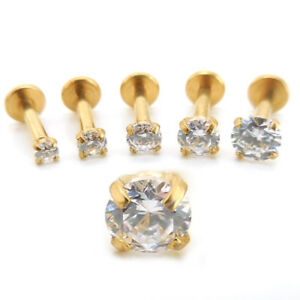 """16G 1/4"""" 6mm Triple Helix Tragus Rings Earring Cartilage 2-4mm Gold Tone Jewelry"""