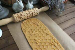 Bees, Small rolling pin, Wooden carved rolling pin, Embossing roller for cookies