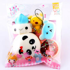5pcs Medium Mini Soft Squishy Slow Rising Bread Toys Key Phone Straps
