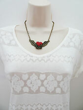 Pretty Bronze Necklace with Angel Wings and Heart Shaped Red Diamante Pendant