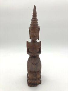 "Vintage Wood Carving Art Thai Buddha Figure Kneeling and Praying 11.5"""
