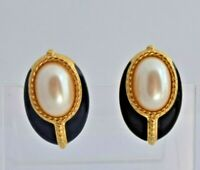Monet Vintage Black Enamel Pearl Gold Tone Women's Signed Earrings USA Seller