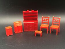 Lot of (6) Allied Dollhouse Miniature Furniture Radio Hutch Chairs Bench Red
