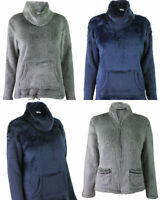 M&S Marks Spencer Womens Grey Navy Blue Fluffy Fleece Loungewear Jumper Jacket