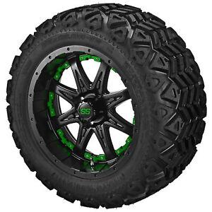 "12"" Revenge Matte Black on 20x10.00.00-12 Black Trail Tires w/Green Inserts"