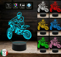 LAMPADA a led 7 colori selezionabili Motocicletta MOTOCROSS Idea regalo original
