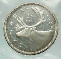 1965 CANADA United Kingdom Queen Elizabeth II CARIBOU Silver 25 Cent Coin i76508