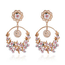 Pink White Cherry Blossom Floral Spring Summer Gold Hoop Drop Festival Earrings