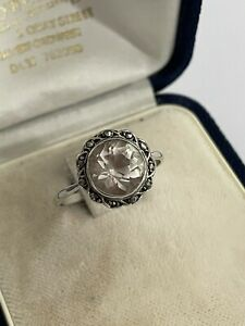 Vintage Art Deco Sterling Silver Clear Paste & Marcasite Dress Ring Size R 1/2