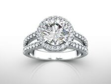 DIAMOND ENGAGEMENT RING HALO 1.5 CARAT CT ROUND CUT D VS2 14K WHITE GOLD GIFT