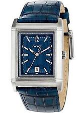 NEW-DKNY SILVER TONE,EMBOSSED CROC BLUE LEATHER BAND BLUE DIAL WATCH-NY1375