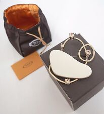 RARE $735 NWT Authentic TOD'S Gold-toned White Leather BROOCH Pin