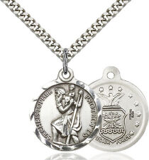925 Sterling Silver St Christopher Air Force Military Catholic Medal Necklace