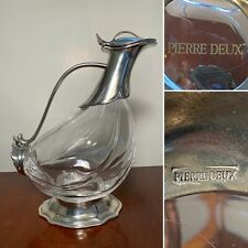 New w/Label Vintage PIERRE DEUX Crystal & Pewter Decanter Duck Pheasant Rooster