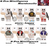 Collection 8 Pcs Minifigures Marshmello Full Color Supper Music Group Lego MOC