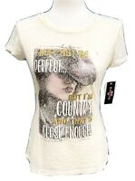 Glitter Country Western Fitted Cream Sheer Short Sleeve T-Shirt Top Sz M Ransom