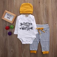 6-12M Kids Boy Girls Clothes Tops T Shirt Romper Pants 3pcs Baby Outfits Set US