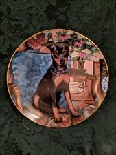 Tea Time Patricia Bourque Collector Plate Danbury Miniature Pinscher Dogs
