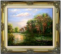 Framed Quality Hand Painted Oil Painting Quiet Lake with Boat at Evening 20x24in