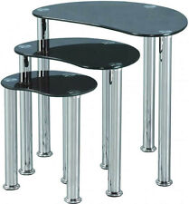 CARA BLACK GLASS & CHROME NEST OF TABLES NEW *FREE NEXT DAY DELIVERY
