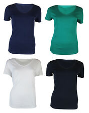 WOMENS LADIES EX M&S PURE COTTON SHORT SLEEVE V-NECK T-SHIRTS - 4 COLOURS