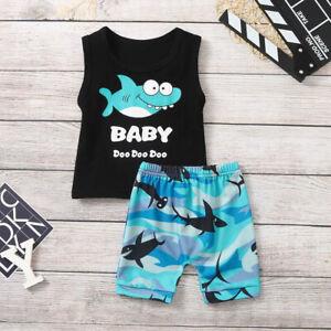 2PCS Baby Boy Girl Kid Cartoon Shark Letter Shirt Vest Tops+Shorts Outfits Set o
