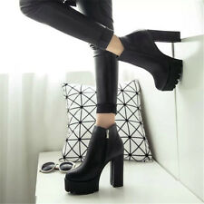 Women Platform Block High Heel Shoes Side Zipper Black Ankle Boots Size All