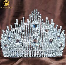 Fantastic Pageant Tiara Crown Austrian Rhinestones Wedding Bridal Hair Jewelry