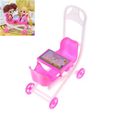 Pink Cute Barbie doll 2 Baby Stroller Girl's Gift Doll Accessories SP