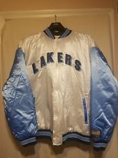 Lakers White and Blue Satin Bomber Jacket Mint Condition never used.