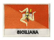 Ecusson brodé patche patch à coudre drapeau SICILE 70 x 45 mm Italie