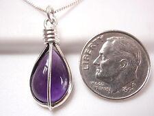 Purple Amethyst Teardrop 925 Sterling Silver Pendant Corona Sun Jewelry