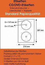 100 CD DVD Etiketten Label Aufkleber weiß 117/17 + Software
