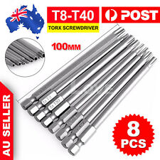 8pcs T8-T40 Torx Screwdriver Bit Set Hex Security Magnetic Head 100mm Long