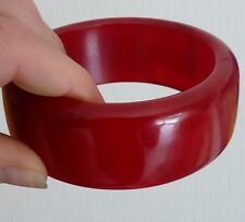 HUGE ANTIQUE ART DECO AMBER RED CHERRY BAKELITE FATURAN BANGLE BIJOU ANCIEN 1930